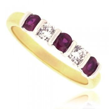 18ct Gold 5-Stone Ruby & Diamond Bar Set Eternity Ring