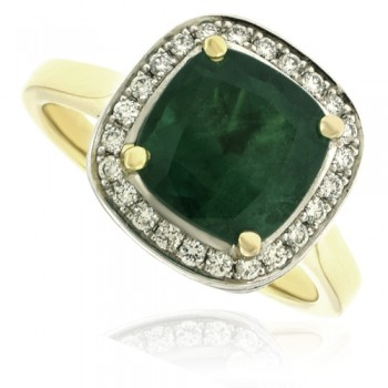 18ct Gold 2.53ct Emerald Cushion Diamond Halo Ring