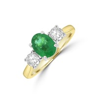 18ct Gold 1.00ct Oval Emerald and Diamond Three-stone Ring