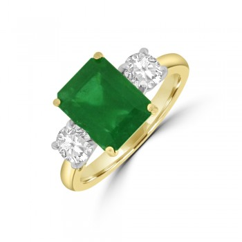 18ct Gold Three-stone Emerald cut Emerald & Diamond Ring