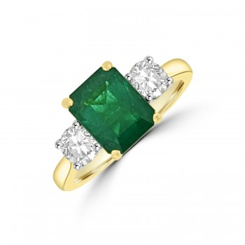 18ct Gold Emerald & Diamond Three-stone Ring
