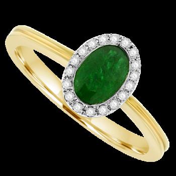 18ct Gold Emerald & Diamond Surround Ring