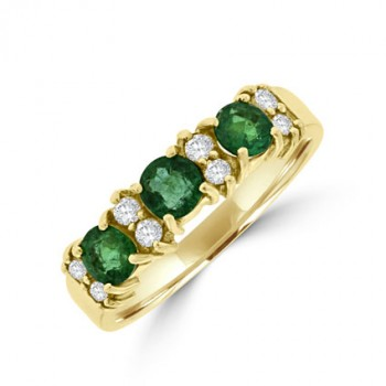 18ct Gold 11-stone Emerald & Diamond Eternity Ring