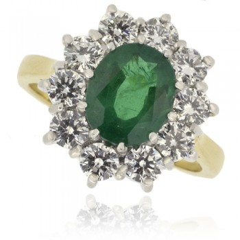 18ct Gold oval Emerald & Diamond Cluster Ring