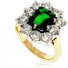 18ct Gold Emerald & Diamond Cluster Ring D1.93ct E1.85ct