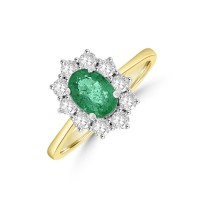 18ct Gold .91ct Emerald & Diamond Oval Cluster Ring