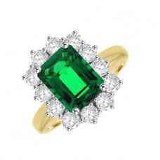 18ct Gold Emerald & Diamond Cluster Ring