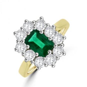 18ct Gold Emerald & Diamond Emerald cut Cluster Ring