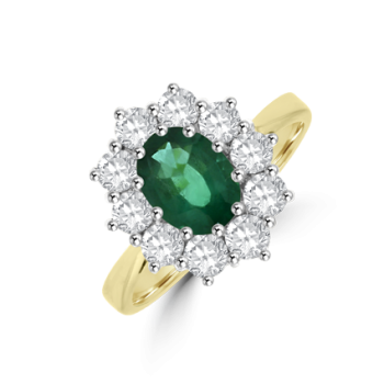 18ct Gold Emerald & Diamond Oval Cluster Ring