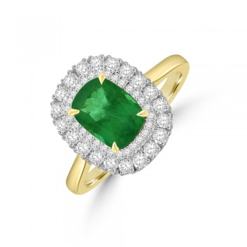 18ct Gold Cushion Emerald Double Diamond Halo Ring