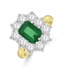 18ct Gold 1.27ct Emerald and Diamond Emerald cut Cluster Ring