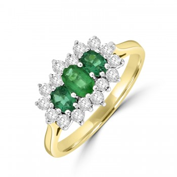 18ct Gold Oval cut Emerald and Diamond Triple Cluster Ring
