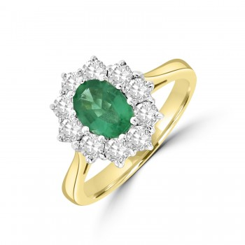 18ct Gold .76ct Emerald & Diamond Oval Cluster Ring