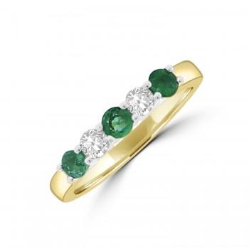 18ct Gold Emerald & Diamond Five-stone Eternity Ring