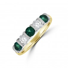 18ct Gold Emerald & Diamond Bar Set Eternity Ring