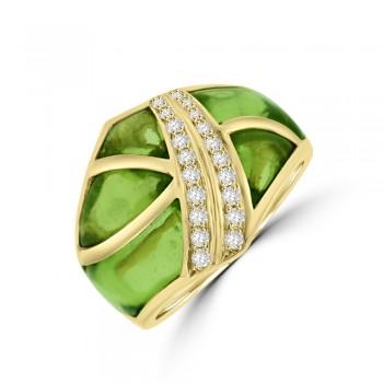 18ct Gold Peridot & Diamond Broad Band Dress Ring
