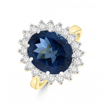 18ct Gold Blue Topaz and Diamond Oval Cluster Ring