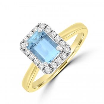 18ct Gold Emerald cut .97ct Aquamarine Diamond Halo Ring