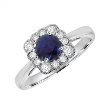 18ct White Gold Sapphire & Square Vintage Diamond Halo Ring