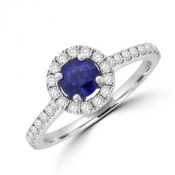 18ct White Gold Sapphire & Diamond Halo Ring