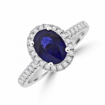 18ct White Gold Sapphire & Diamond Oval Halo Ring