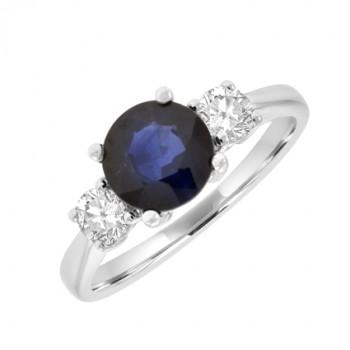 18ct White Gold Three-stone Sapphire & Diamond Ring