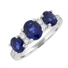 18ct White Gold 3-Stone Sapphire with Diamond Ring