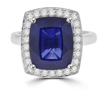 18ct White Gold Cushion cut Sapphire & Diamond Halo Ring