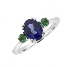 18ct White Gold 3-stone Sapphire & Emerald Ring