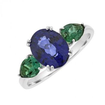 18ct White Gold Three-stone Sapphire & Emerald Ring