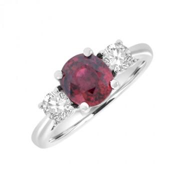 18ct White Gold 3-Stone Orange Sapphire & Diamond Ring