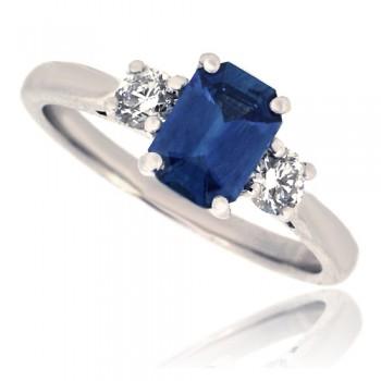 18ct White Gold 3-Stone Emerald cut Sapphire & Diamond Ring