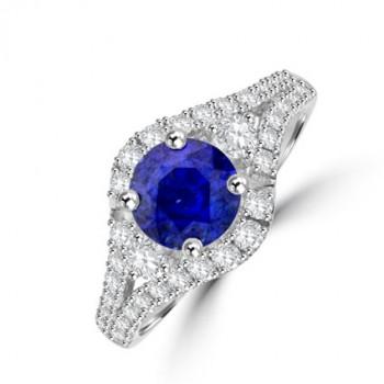 18ct White Gold Sapphire & Diamond Split Cluster Ring
