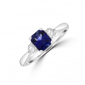 18ct White Gold 1.06ct Sapphire & Diamond Three-stone Ring
