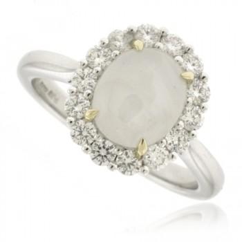 18ct White Gold Star Sapphire & Diamond Cluster Ring