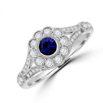 18ct White Gold Sapphire & Diamond Vintage Halo Ring