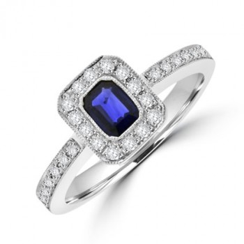 18ct White Gold emerald cut Sapphire & Diamond Halo Ring