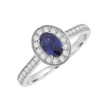 18ct White Gold oval Sapphire & Diamond Halo Ring