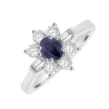 18ct White Gold 9-stone Sapphire & Diamond Cluster Ring