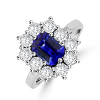 18ct White Gold Emerald cut Sapphire & Diamond Cluster Ring