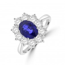18ct White Gold Sapphire and Diamond Oval Cluster Ring
