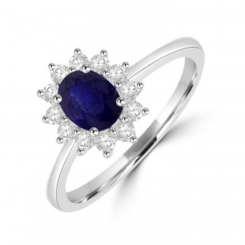 18ct White Gold .75ct Sapphire & Diamond Oval Cluster Ring