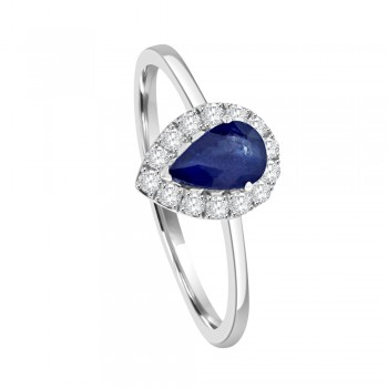 18ct White Gold Sapphire & Diamond Pear Halo Ring
