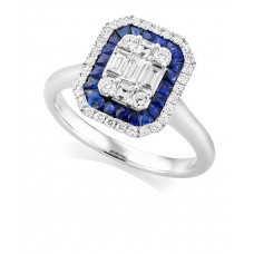 18ct White Gold Sapphire & Baguette Diamond Cluster Ring