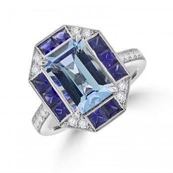 18ct White Gold Aquamarine, Sapphire & Diamond Cluster Ring