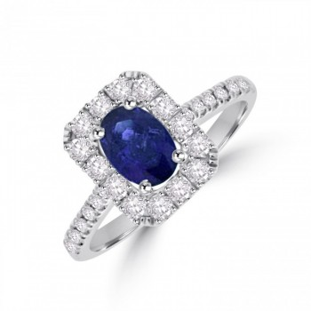 18ct White Gold Sapphire & Diamond Oblong Halo Ring