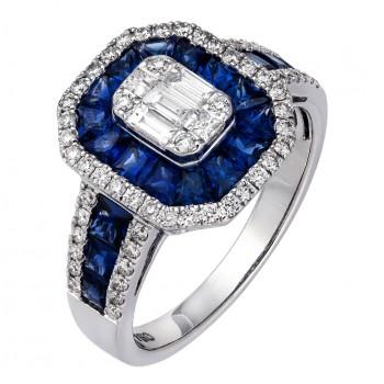18ct White Gold Sapphire & Baguette Diamond Cluster Ring