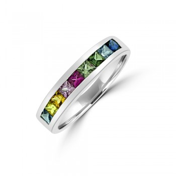18ct White Gold Rainbow Sapphire Eternity Ring