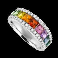 18ct White Gold 3Row Rainbow Sapphire & Diamond Eternity Ring