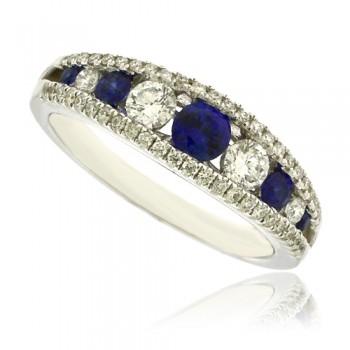18ct White Gold Sapphire & Diamond 3 Row Eternity Ring